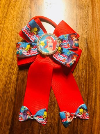 1 x 4 INCH LITTLE MERMAID CHEERLEADER BOW WITH RHINESTONE CENTRE AND BOBBLE
